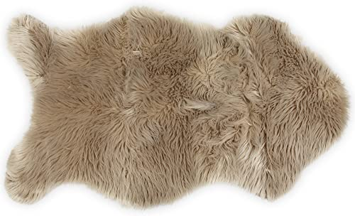 Nouvelle Legende Faux Fur Sheepskin Premium Rug Single 23 in. X 40 in. Tan