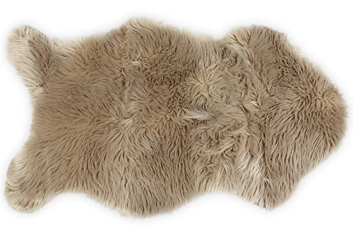 Nouvelle Legende Faux Fur Sheepskin Premium Rug Single 23 in. X 40 in. Tan