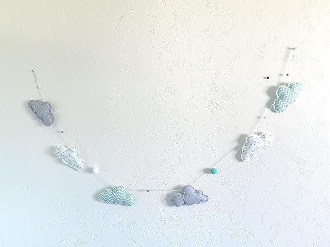 Guirlande de nuages menthe gris décoration chambre bébés et