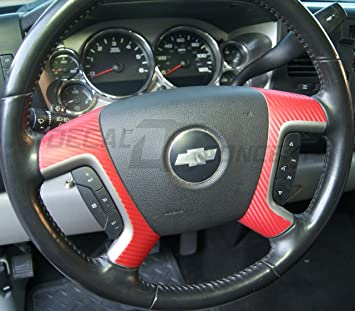 07-13 GMC RED Carbon Fiber Steering Wheel Spoke Overlay Decal Chevy