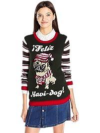 Ugly Christmas Sweater Juniors Feliz Navi-Dog Pug Pullover