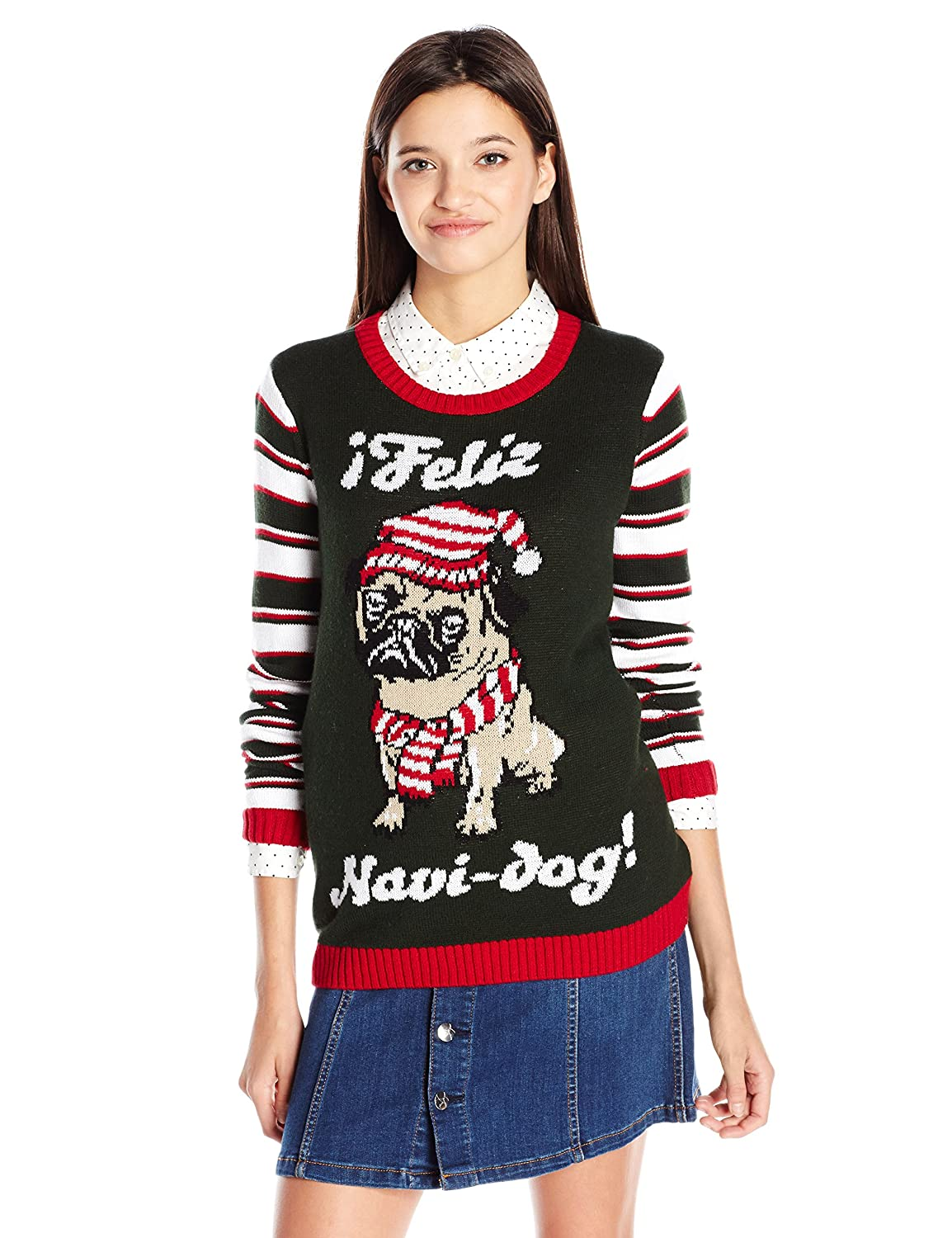 Amazon.com: Blizzard Bay Junior\'s Christmas Pug with Sequins Sweater ...