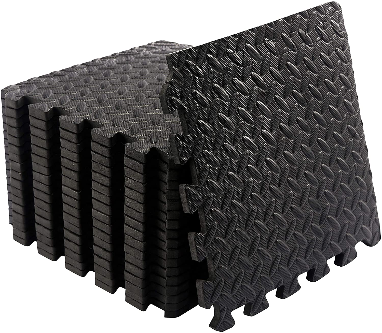 JIGMATS Small Foam Exercise Mats, Gym Flooring for Home Gym, 18 x Protective Foam Floor Mats for Exercise Equipment, Interlocking EVA Floor Tiles, a Foam Gym Matt Rubber Cushion, Workout Mat 12
