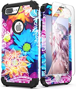 iPhone 8 Plus Case with Tempered Glass Screen Protector, iPhone 7 Plus Case, IDweel 3 in 1 Shockproof Slim Hybrid Heavy Duty Hard PC Cover Soft Silicone Rugged Bumper Full Body Case, Daisy