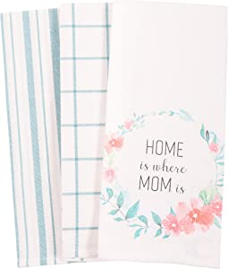 KAF Home Bloom Mom's Kitchen Towel Set of 3, 100-Percent Cotton, 18 x 28-inch (Where Mom is)