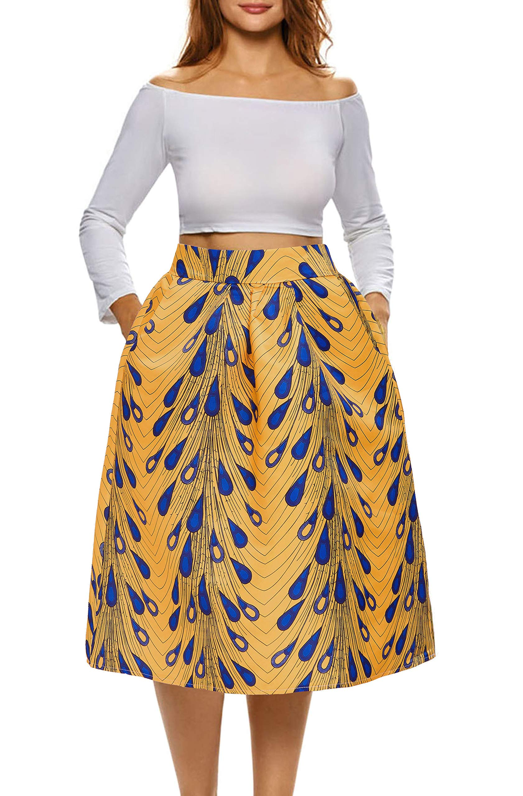 Afibi African Print Skirts for Women Boho Plus Size Flare Pleated Skirts (XX-Large, Pattern 9)