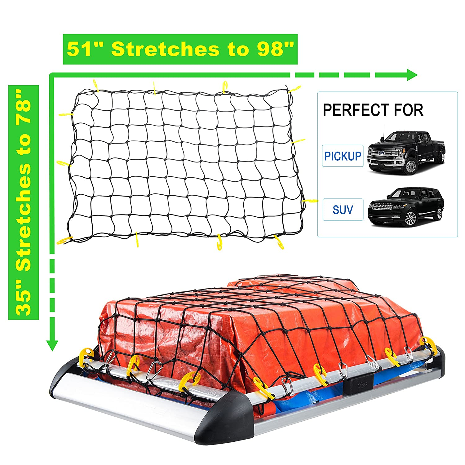 for Pickup Truck Bed and SUV Rooftop Travel Luggage Rack 12 Nylon Hooks OrionMotorTech 3x4 to 6x8 Heavy Duty Latex Cargo Net with 12 Tangle-Free D Clip Carabiners Small 4x4 Mesh 5mm Cord