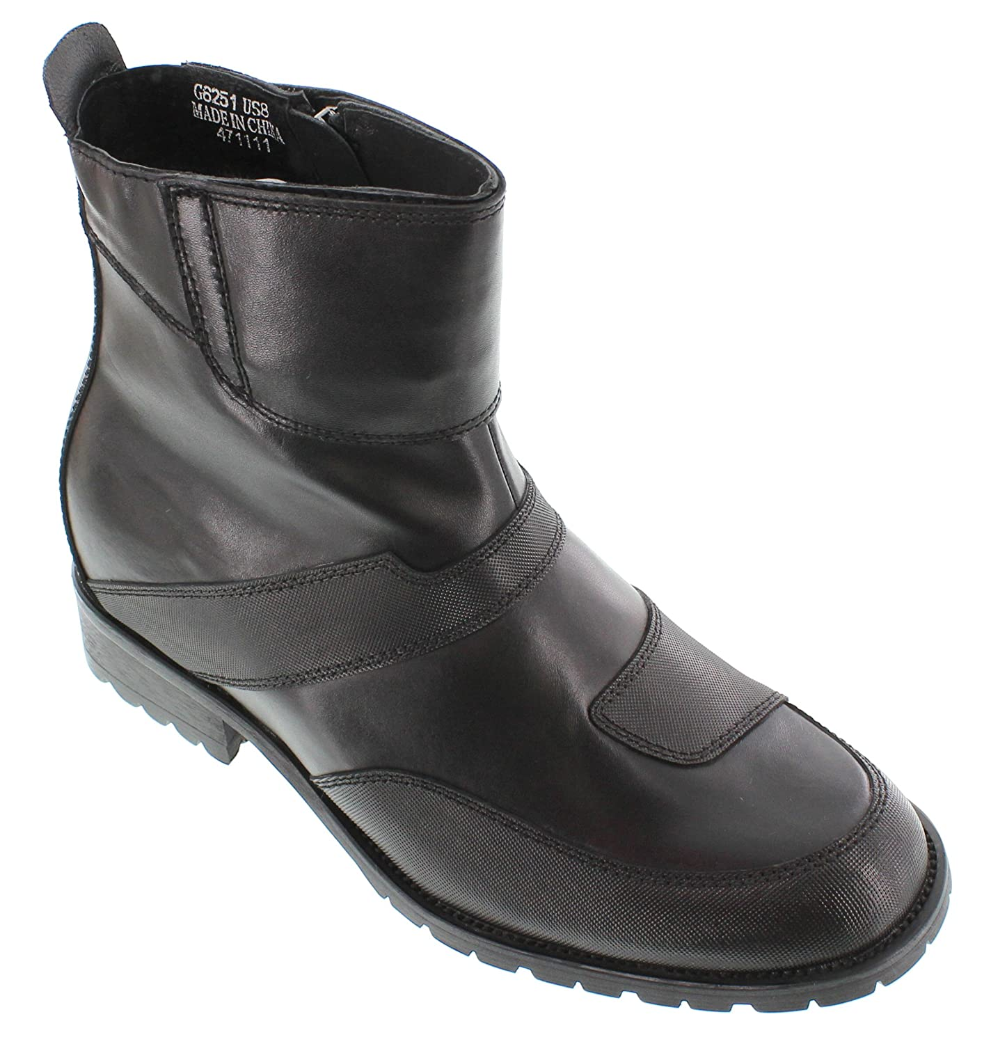 CALTO G6252-3.3 Inches Elevator Height Increase Black Zipper High Top Boots
