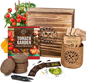 Indoor Garden Tomato Seeds Starter Kit - Tomato Garden Grow Kit, Non GMO Heirloom Seeds for Planting, Wood Planter Box, Soil, Pots, Plant Markers, DIY Home Gardening Gifts for Plant Lovers