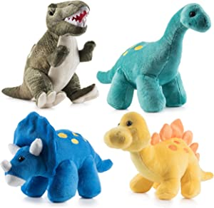 Prextex High Qulity Plush Dinosaurs 4 Pack 10'' Long Great Gift for Kids Stuffed Animal Assortment Great Set for Kids
