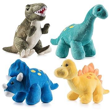 Paquete de 4 Dinosaurios de Peluche Prextex de 25,4 cm de Largo - Gran