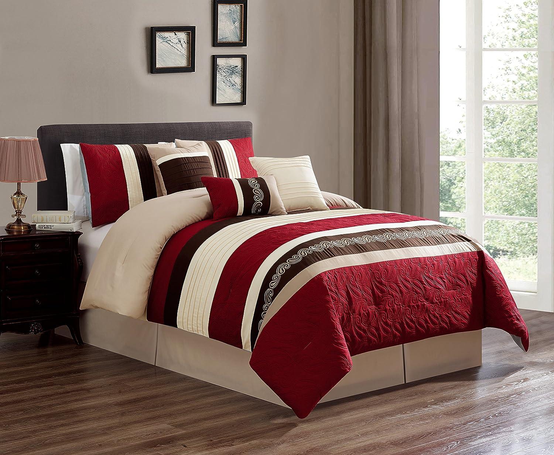 Luxlenモダン7 Pieceベッド/Comforter in aバッグ – 21297 – 21331 クイーン ブラック p-21297-black-q B07D5K193D クイーン|ブラック ブラック クイーン