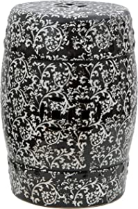 "Oriental Furniture 18"" Black & White Floral Porcelain Garden Stool"