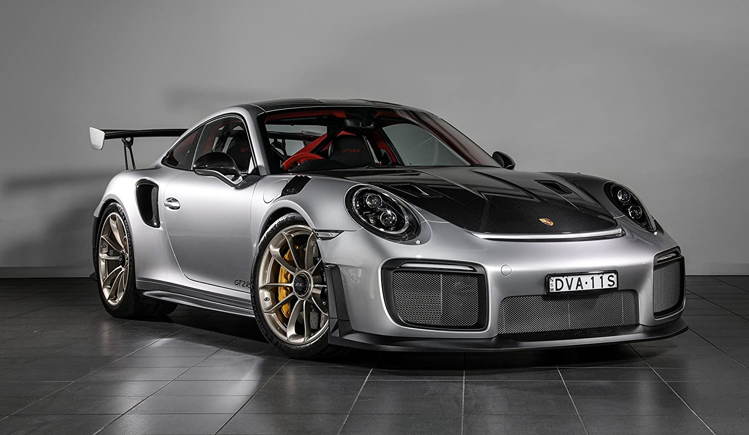 Amazon.com: Porsche 911 GT2 RS (2018) Car Print on 10 Mil Archival Satin Paper Silver/Black Front Side Static View 24