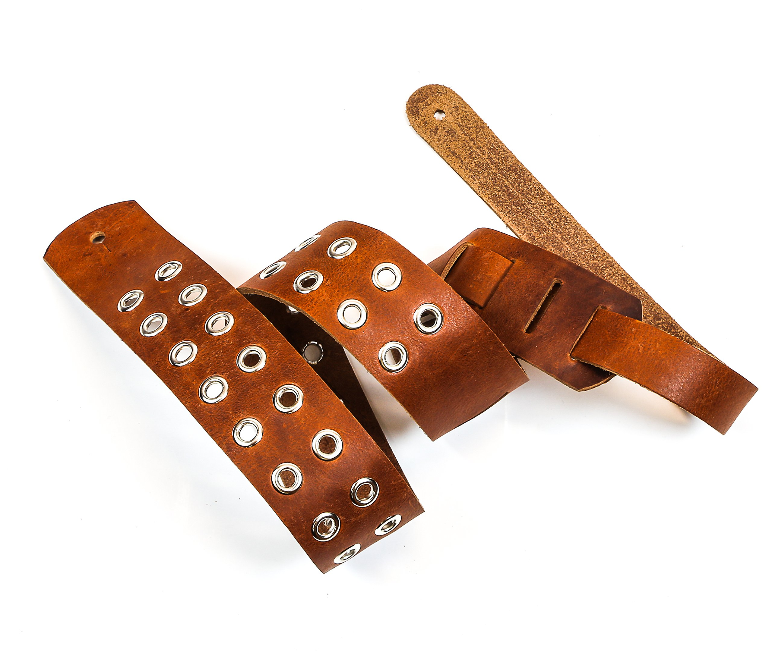 Funk Plus Genuine Leather Grommet Intrinsic Guitar Strap Handmade In USA Tan by funk plus