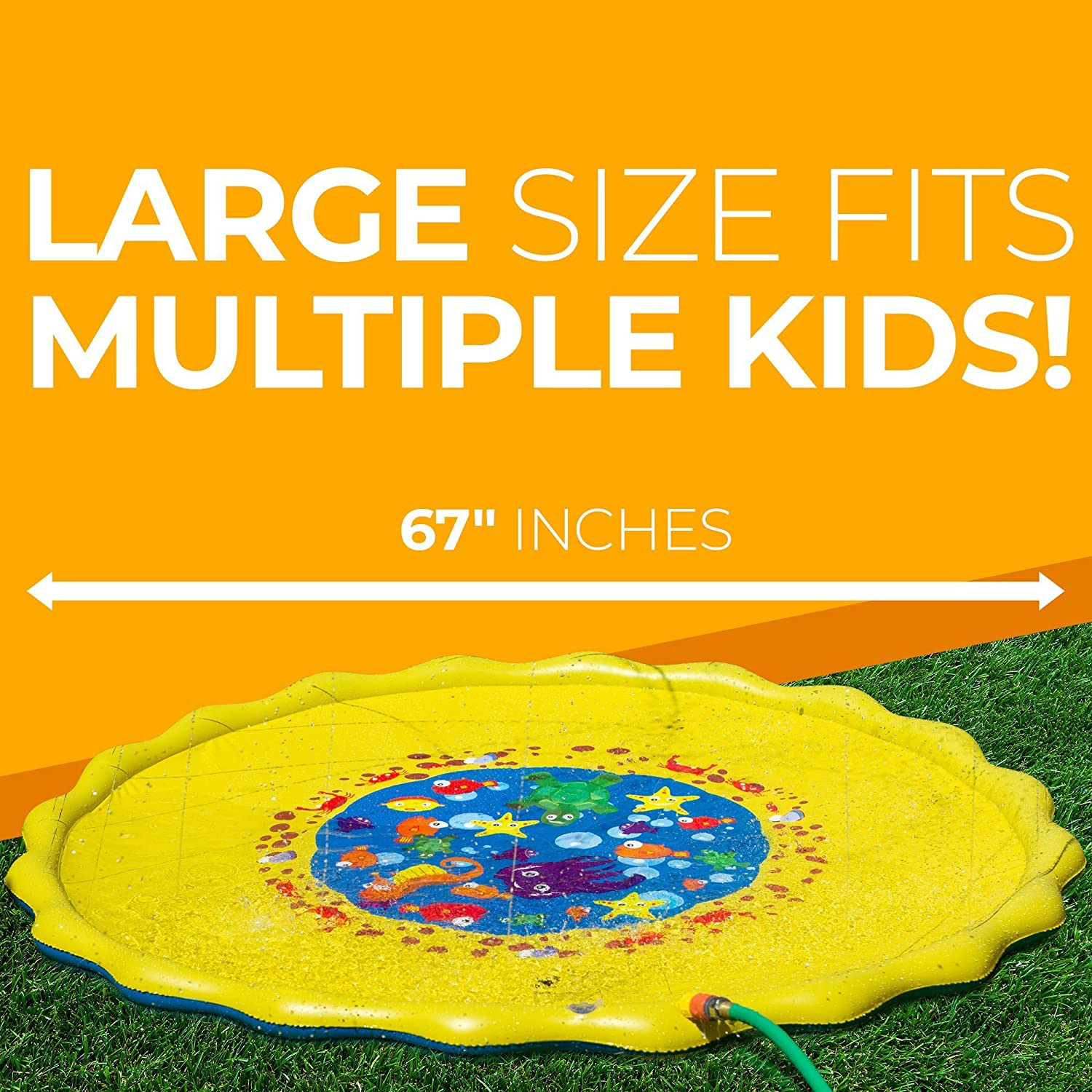 Two Valves Quick Draining 67 inches Large Enough 3 to 4 Kids Perfect Outdoor Water Toy Kids D SERIES Sprinkle /& Splash Play Mat Water Play Mat Kids