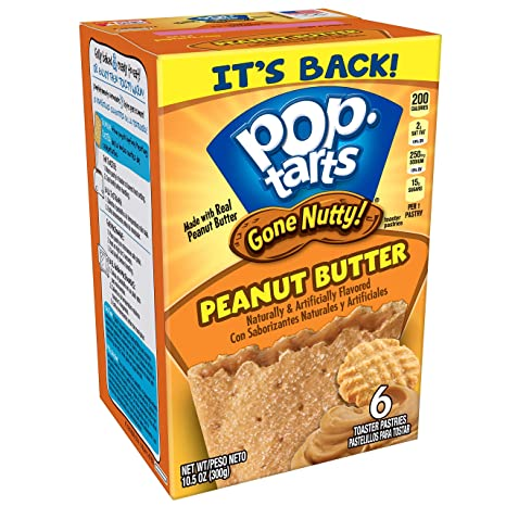 Amazon.com: Pop-Tarts Gone Nutty!, Breakfast Toaster Pastries, Peanut Butter, 10.5 oz (6 Count): Prime Pantry