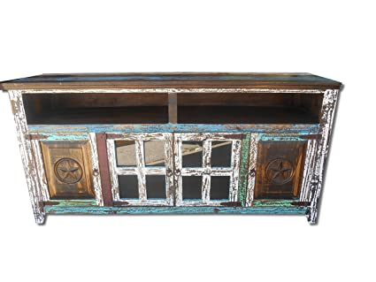 Hiend 72 Inch Rustic Western Multi Color Antique Distressed Reclaimed Wood  Look TV Stand Solid Wood