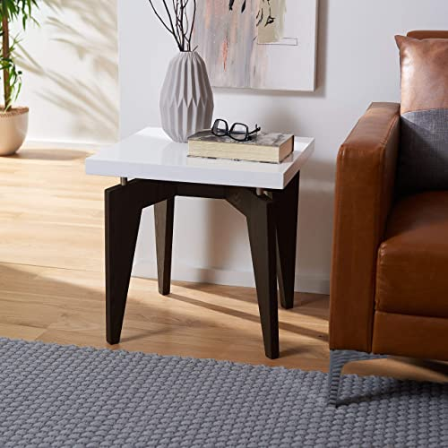 Safavieh Home Collection Josef Mid-Century Modern White and Dark Brown End Table
