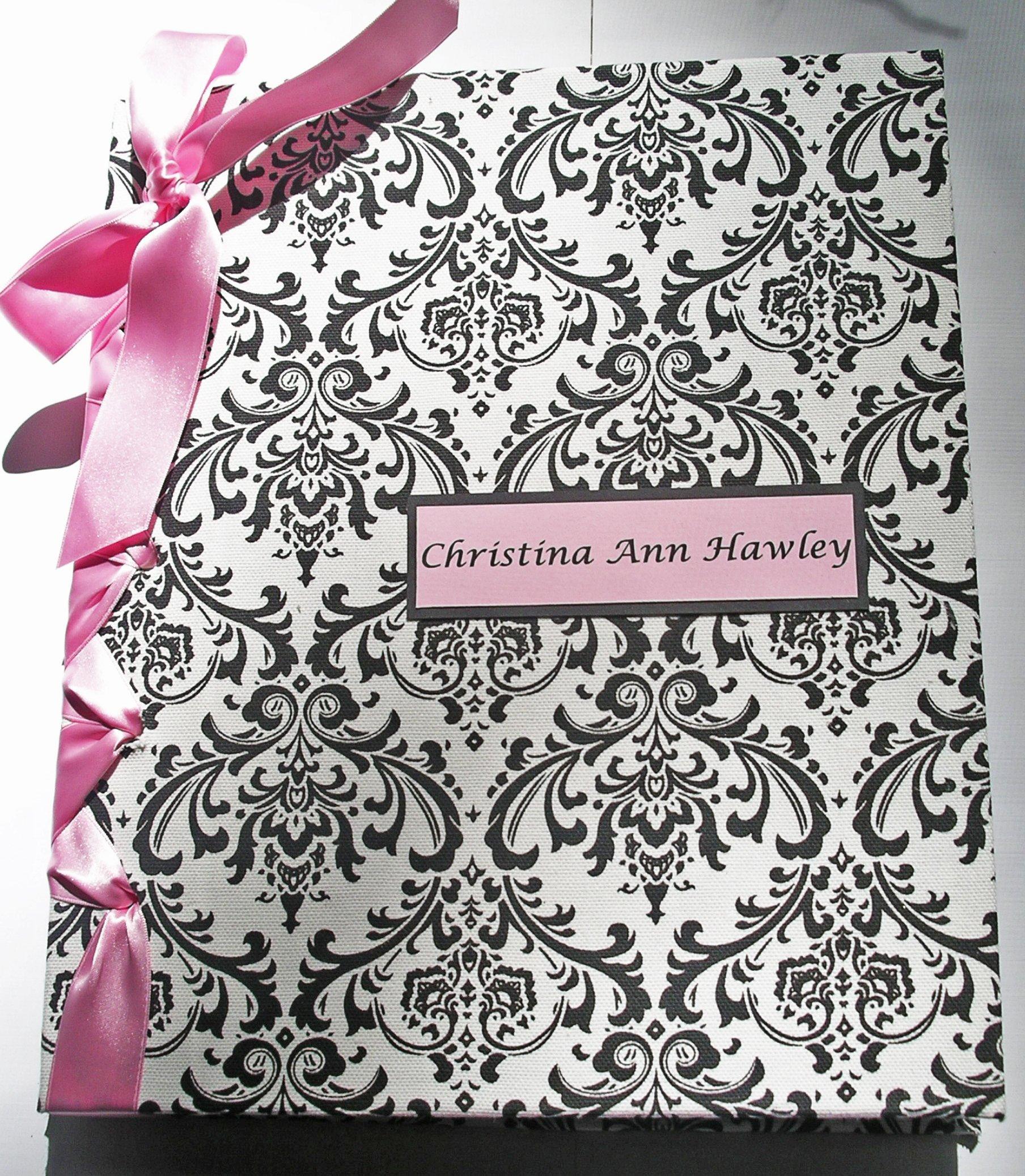 Baby Shower Album - Newborn Baby Photo Album - Children's Book - Pink, Black & White