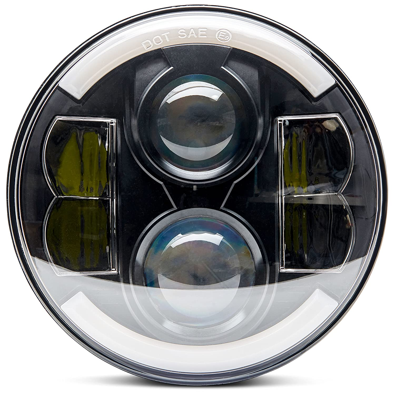 Premium Universal Super Bright Black 7 In Round Led 2000 Road Glide Wiring Diagram Headlight Halo Angel Eye Harley Davidson King Street Ultra Classic Electra