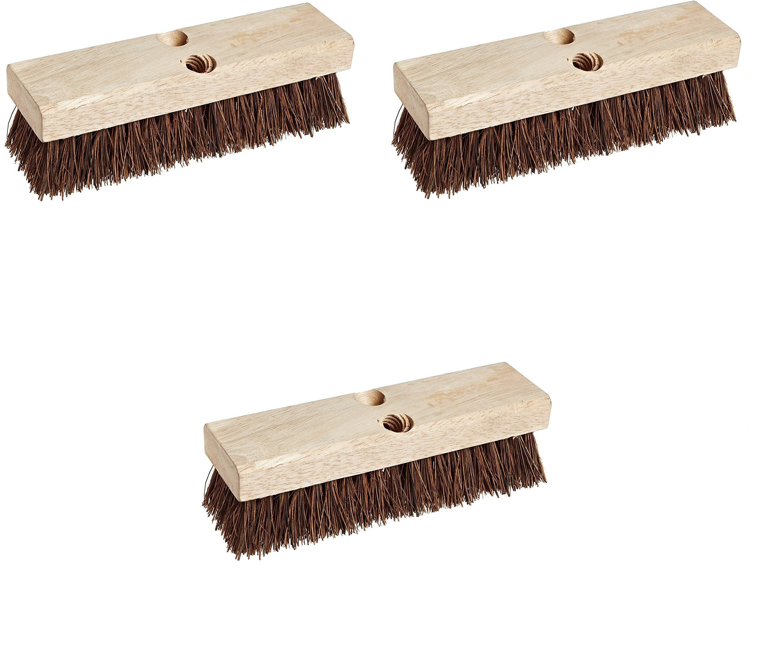 Weiler 44026 Palmyra Fill Deck Scrub Brush with Wood Block, 10'' Overall Length (3 pack)