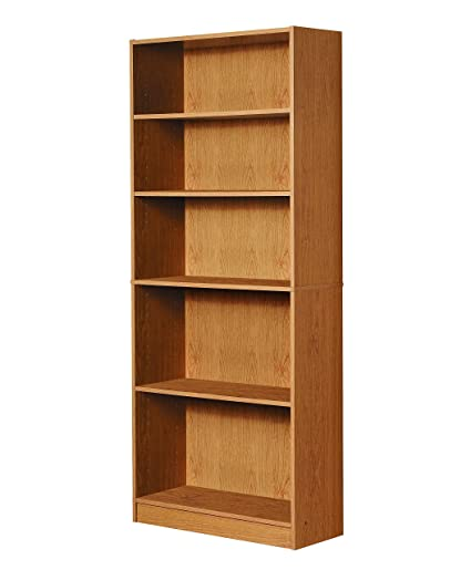 Genial Mylex Five Shelf Bookcase; Three Adjustable Shelves; 11.63 X 29.63 X 71.5  Inches,