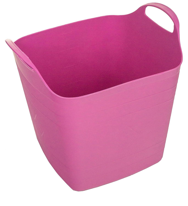 Excellent Houseware 40Lt Square Flexible Flexi Plastic Tub Tubs Bucket for Home Gardening Building Laundry (Blue)