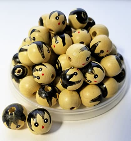 Amazoncom 25mm Natural Wooden Doll Head Beads Arts Crafts Sewing