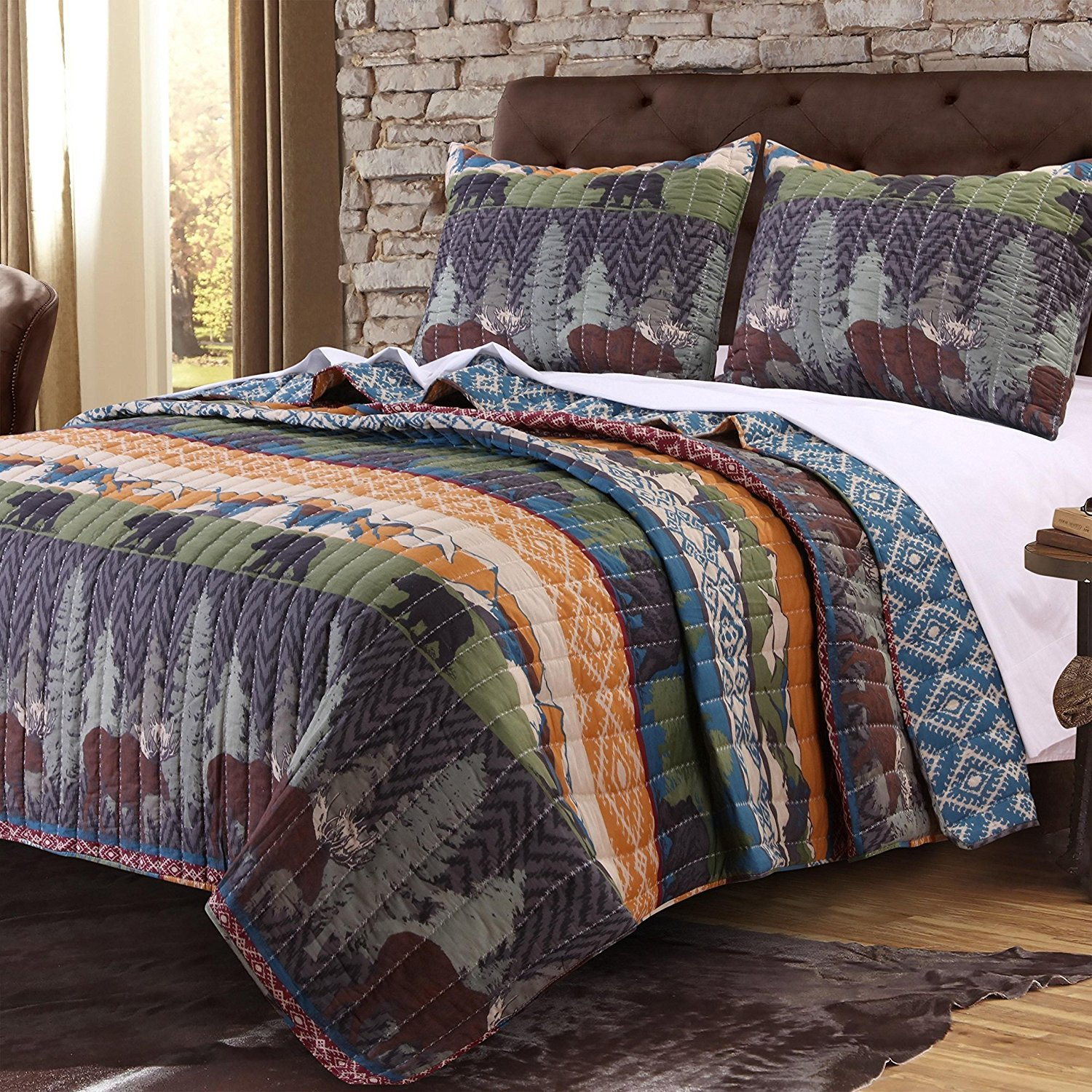 3pc Blue Green Orange Grey Full Queen Quilt Set, Cotton, Rustic Cabin Wildlife Bears Pattern Themed Bedding Animal Lodge Cottage Nature Outdoors Forest Wild Wilderness Trees