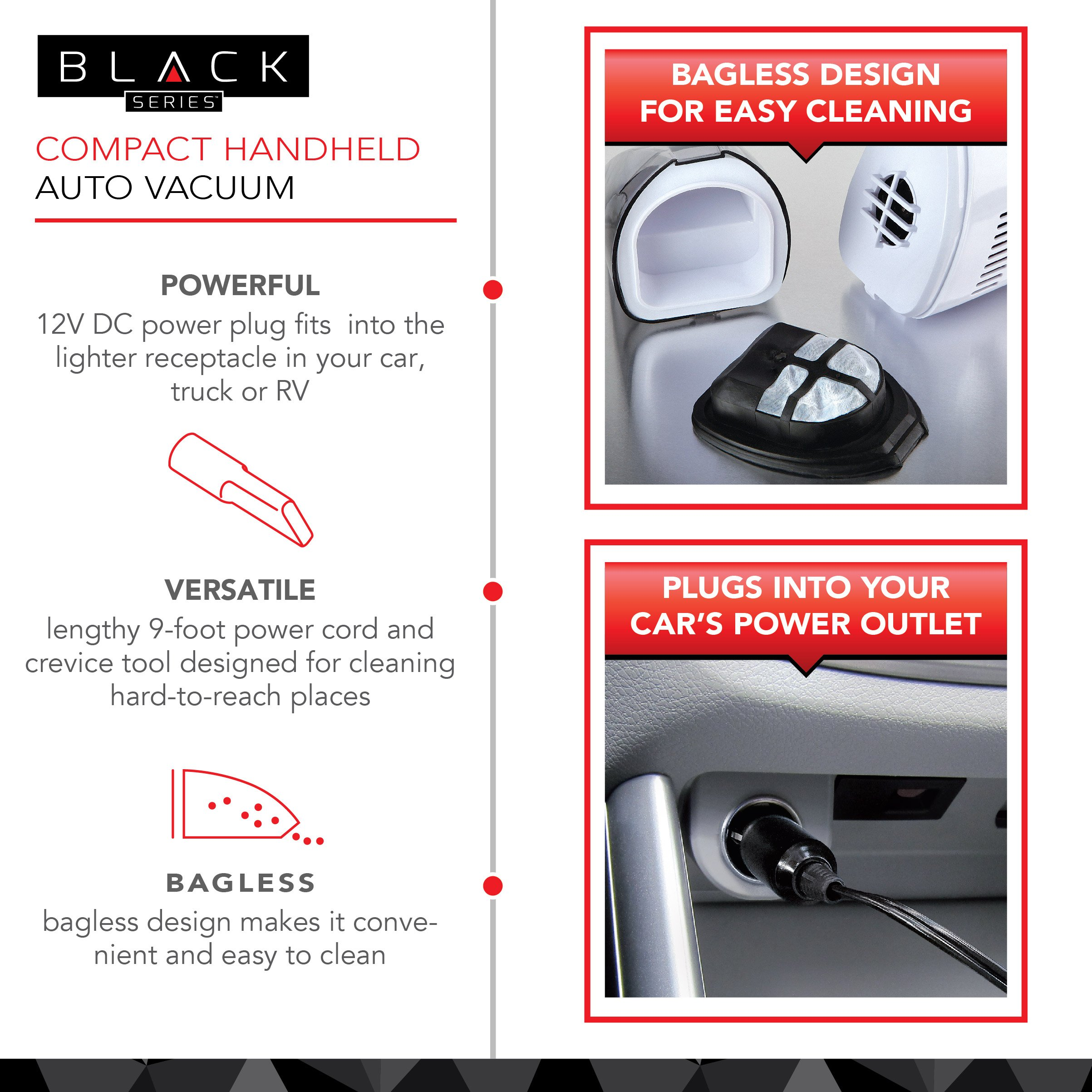 The Black Series Compact Handheld Auto Vacuum Cleaner and Attachments for Cars, Trucks, and Van Upholstery, Uses 12 Volt Lighter Plug, Powerful Suction to Pick up Dry Debris and Dust by THE BLACK SERIES (Image #2)