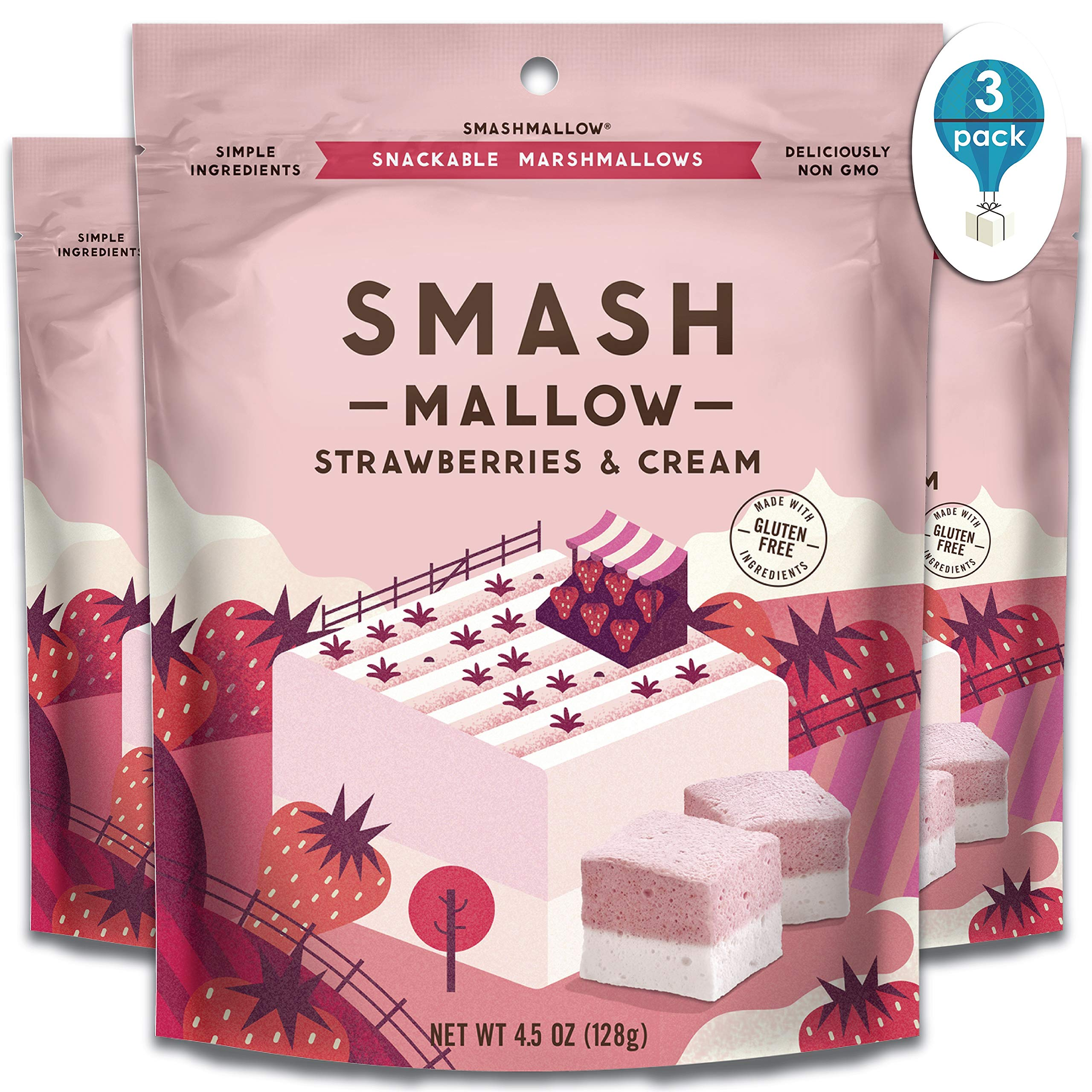 Strawberries & Cream By SmashMallow | Snackable Marshmallows | Non-Gmo | Organic Cane Sugar | 100 Calorie | Pack Of 3 (4.5 Oz) by Smashmallow