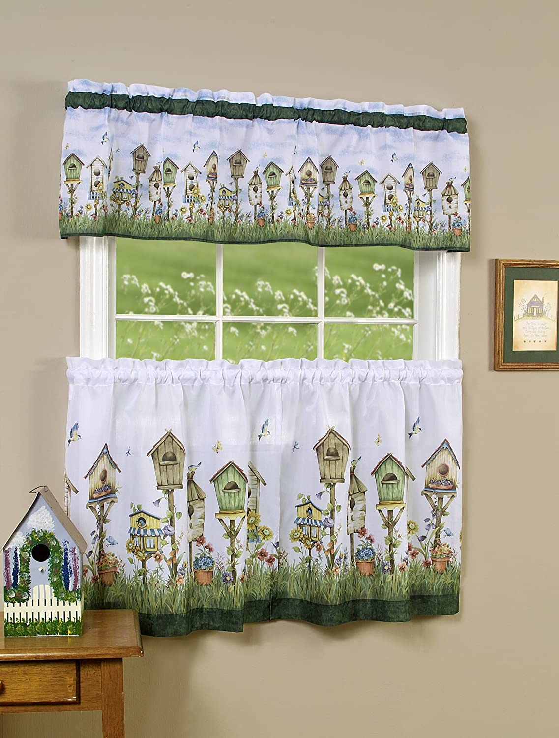 Achim Home Furnishings Home Sweet Home Tier and Valance Set, 58-Inch by 24-Inch, Multi Achim Imports HSTL24ML12