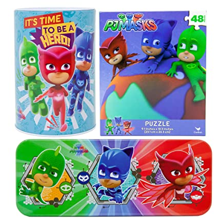 Meet Toys PJ Mask Gift Set | Large Penny Coin Bank with Removable Top + 48