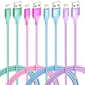 iPhone Charger Lightning Cable 4Pack(6/3/3/1ft) 4Color Apple MFi Certified Nylon Braided Long Fast USB Cord Compatible for iPhone 11Pro MAX Xs XR X 8 7 6S 6 Plus SE 5S 5C (Green Orange Purple+Blue)