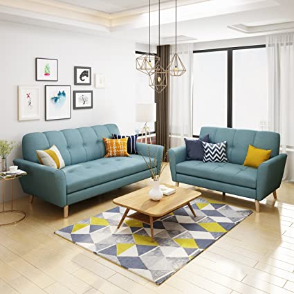 Super Christopher Knight Home 303706 Angelina Mid Century Blue Fabric Sofa And Loveseat Set Download Free Architecture Designs Scobabritishbridgeorg