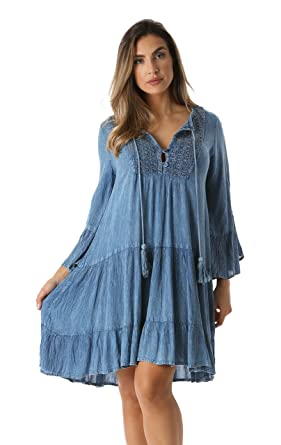 27b172f5e6585 Riviera Sun Short Flowy Casual Dress with Crochet Front & Bell ...