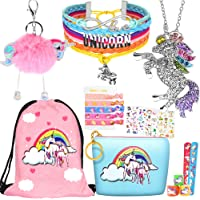 8 pcs Unicorn Gifts for Girls Teen Necklace Bracelet Jewelry Hair Ties Backpack Slap Bracelet Stickers Keychain Coin…