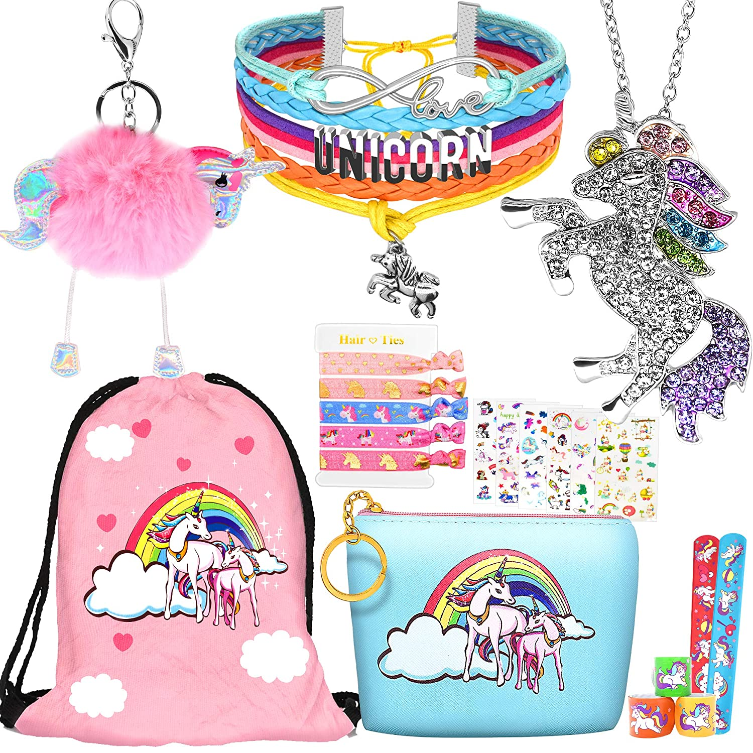 8 pcs Unicorn Gifts for Girls Teen Necklace Bracelet Jewelry Hair Ties Backpack Slap Bracelet Stickers Keychain Coin Purse Accessories Stuff Party Favors Birthday Gifts Set for Women by Hevout 91oSbkVT2BoL