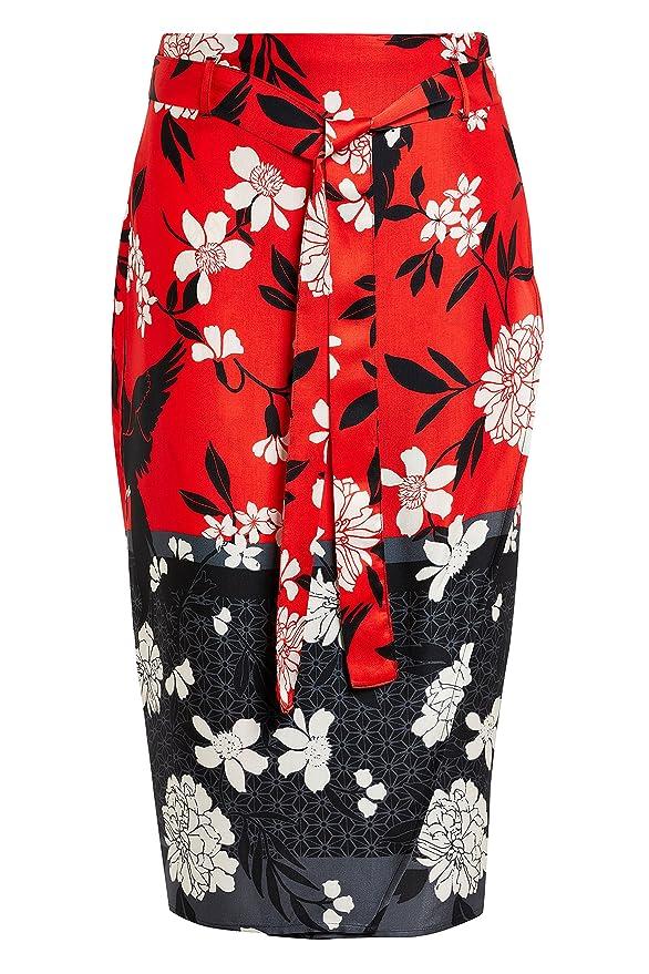 next Mujer Falda Cruzada Rojo Estampado EU 38 (UK 10): Amazon.es ...