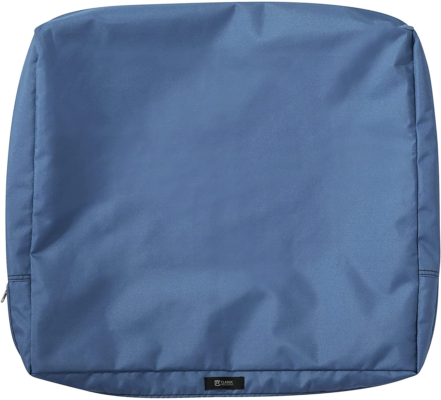 Classic Accessories Ravenna Water-Resistant 23 x 20 x 4 Inch Outdoor Back Cushion Slip Cover, Patio Furniture Cushion Cover, Empire Blue