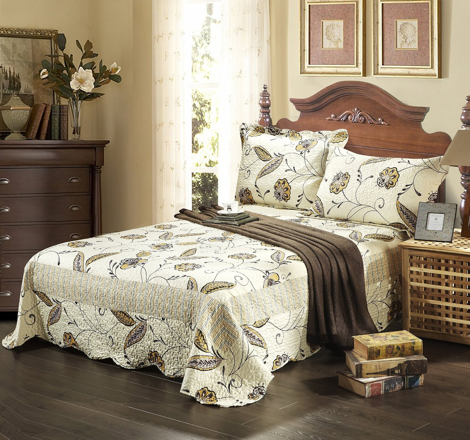Tache Home Fashion SD2238-Single Seasons Eve Lightweight Brown Leaves Quilted Bedspread Quilt Set, Brown, Twin