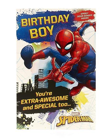 Amazon.com: Tarjeta de cumpleaños de Marvel Spiderman ...