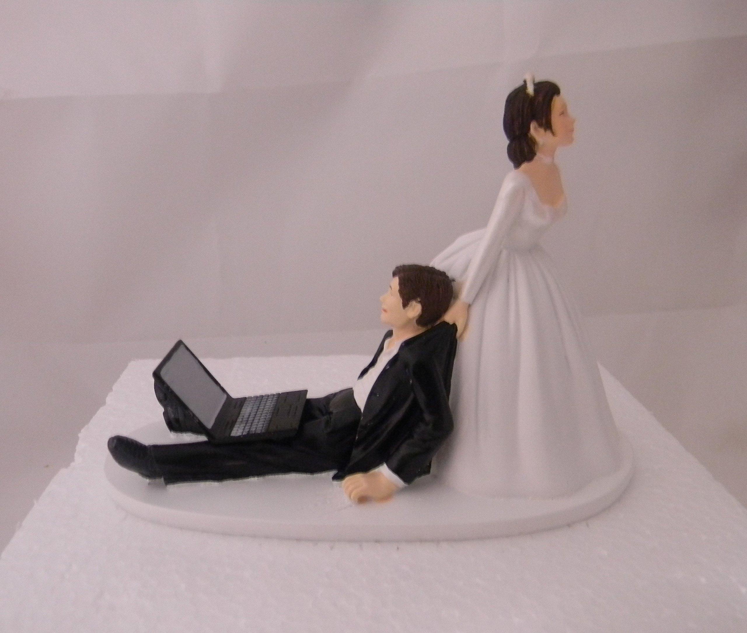 Wedding Party Computer Laptop Computer both dark hair Geek Cake Topper