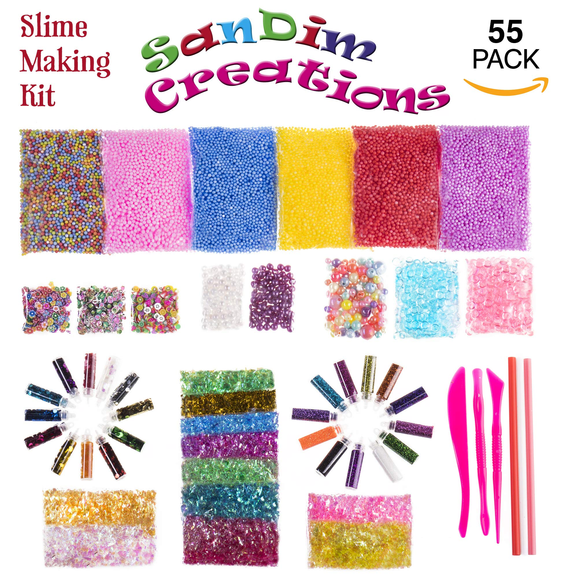 Slime Making Kit - 55 Pack Slime Supplies - Including Fishbowl Beads, Foam Balls, Glitter, Confetti, Slime Tools for DIY Craft - Perfect to Spike Your Kid's Creativity - by SanDim Creations