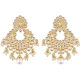 I Jewels Gold Plated Kundan Chandbali Earrings for Women (E2457W)