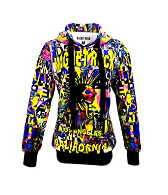 Amazon.com Magnet Rock Women\u0027s Hoodie Long Sleeve Pullover Teen Girls  Colorful Printed Supreme Sweatshirts Top Fashion Style Clothing