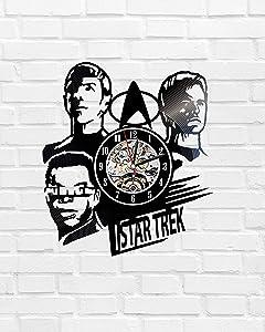 Kovides Star Trek Serial Art Birthday Gift Idea for Fan Star Trek Wall Art Handmade Party Decorations Star Trek Wall Clock Minimalist Decor Vintage Vinyl Record Retro Wall Clock