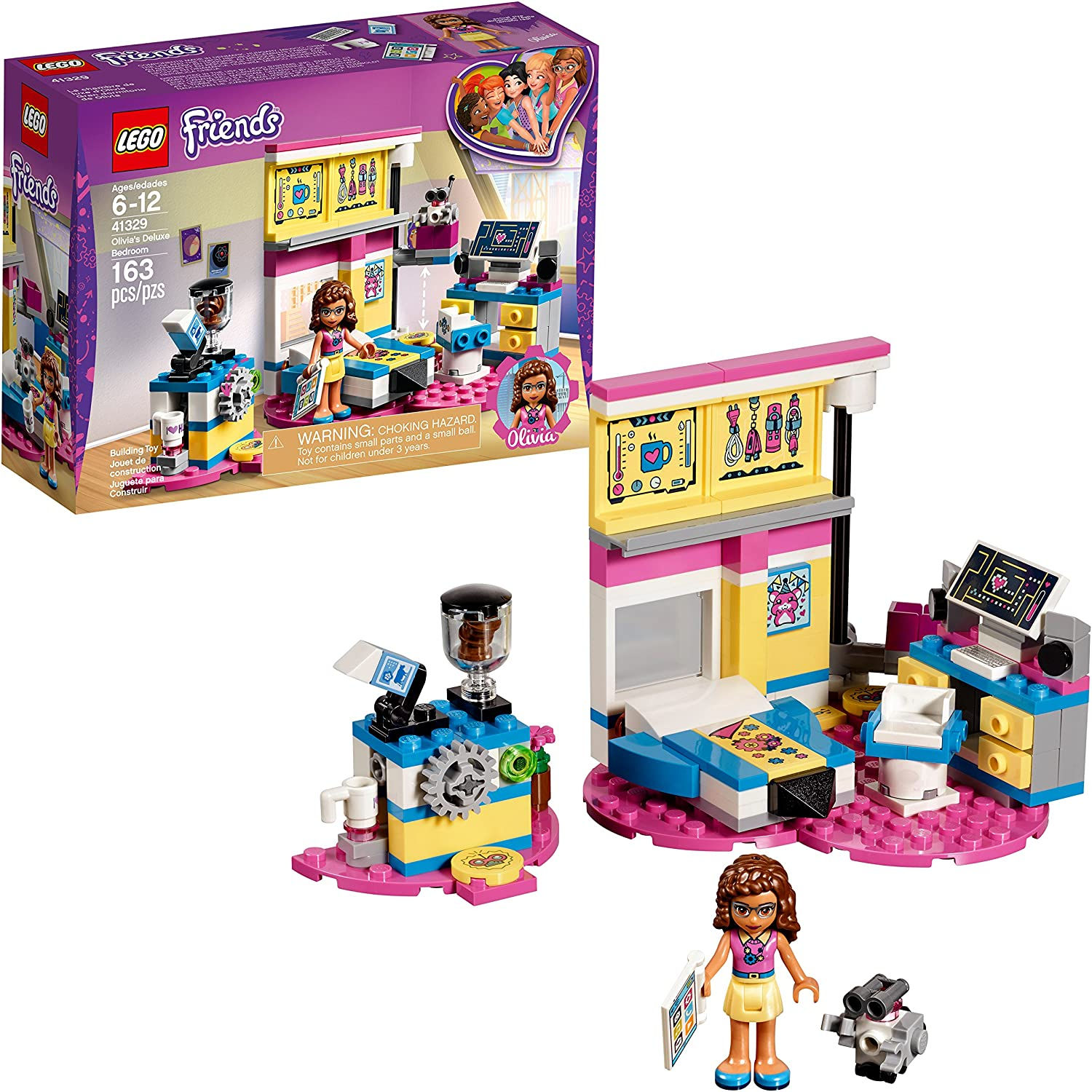 Amazon Com Lego Friends Olivia S Deluxe Bedroom 41329 Building Set 163 Piece Toys Games