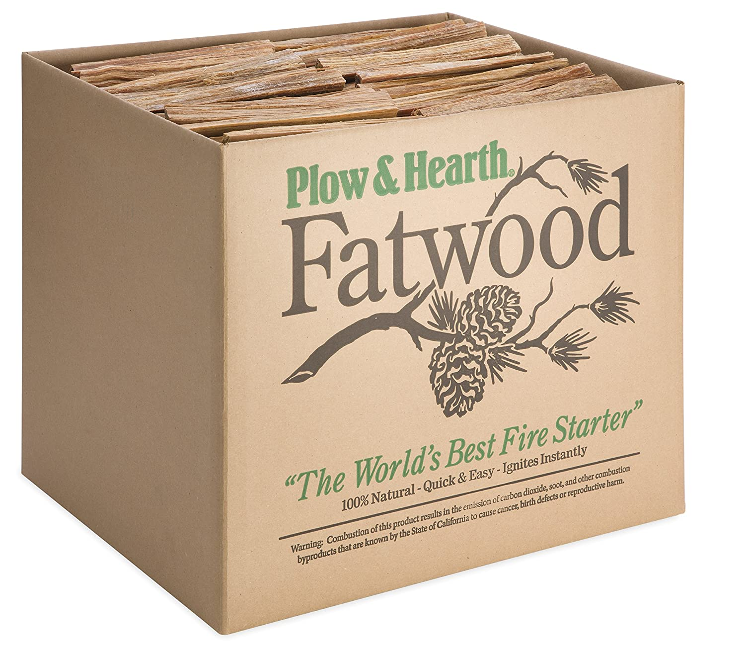Fatwood 50 LB Box Fire Starter All Natural Organic Resin Rich Eco Friendly Kindling Sticks for Wood Stoves, Fireplaces, Campfires, Fire Pits, Burns Quickly and Easily, Safe and Non Toxic Plow & Hearth 12213